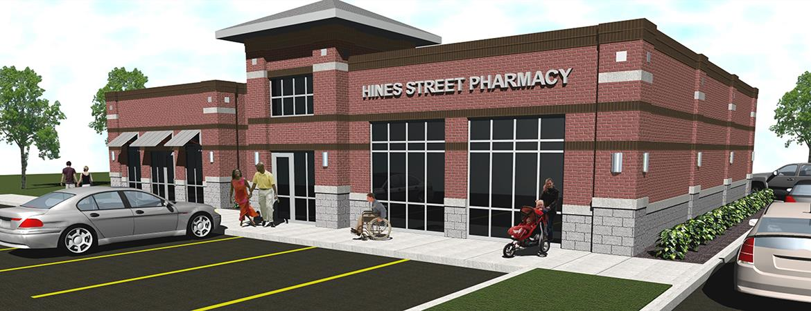 <h2>Hines Street Pharmacy</h2> <p>Rendering shows expansion possibilities</p>