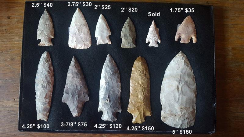 Missouri Arrowhead Collections For Sale | Ozarks Arrowheads